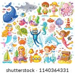 vector set on a sea theme in a... | Shutterstock .eps vector #1140364331