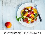 summer peach tomato salad with... | Shutterstock . vector #1140366251