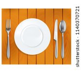 plate with spoon and fork knife ... | Shutterstock .eps vector #1140370721