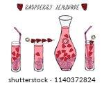 lemonade with raspberry in... | Shutterstock .eps vector #1140372824