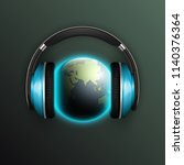 vector world map headphones.... | Shutterstock .eps vector #1140376364