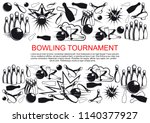 bowling tournament poster of... | Shutterstock .eps vector #1140377927