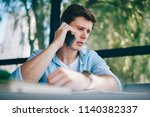 frustrated young man 20 years... | Shutterstock . vector #1140382337