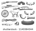 hunter equipment and hunt items ... | Shutterstock .eps vector #1140384344