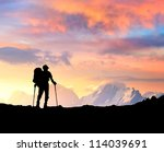 silhouette of tourist on the... | Shutterstock . vector #114039691