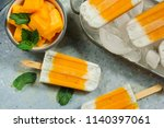 mango chia seed popsicles or...   Shutterstock . vector #1140397061