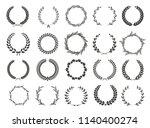 vector laurel wreaths on black...   Shutterstock .eps vector #1140400274