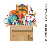 school items in cardboard box.... | Shutterstock .eps vector #1140403787