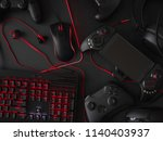 gamer workspace concept  top... | Shutterstock . vector #1140403937