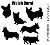 Stock vector welsh corgi dog vector icons and silhouettes set of illustrations in different poses 1140411524