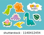 set of cute cartoon baby... | Shutterstock .eps vector #1140412454