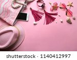 composition with smartphone ... | Shutterstock . vector #1140412997