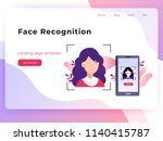 smartphone scans a woman face.... | Shutterstock .eps vector #1140415787
