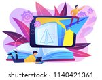 user with book and tablet... | Shutterstock .eps vector #1140421361