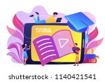 students watching video... | Shutterstock .eps vector #1140421541