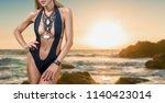 young fashion woman posing in... | Shutterstock . vector #1140423014