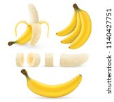 banana fruit set  bunches of... | Shutterstock .eps vector #1140427751