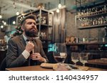 confident bar customer speak in ... | Shutterstock . vector #1140434957