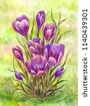 watercolor crocuses on the... | Shutterstock . vector #1140439301