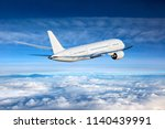 passenger plane fly away. back... | Shutterstock . vector #1140439991