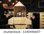 boy play with rocket  cosmonaut ...   Shutterstock . vector #1140440657