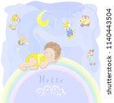 child in yellow pajamas...   Shutterstock .eps vector #1140443504