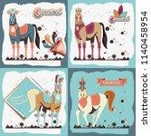 carnival horses vintage icon | Shutterstock .eps vector #1140458954