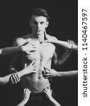 man with muscular torso  macho... | Shutterstock . vector #1140467597