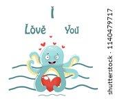 octopus  love  vector... | Shutterstock .eps vector #1140479717