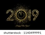 happy new year 2019   vector... | Shutterstock .eps vector #1140499991