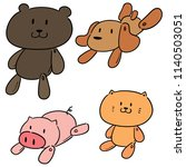vector set of stuffed animals | Shutterstock .eps vector #1140503051