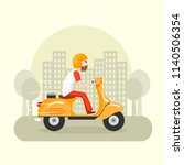 man characters riding fast... | Shutterstock .eps vector #1140506354