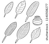 vector set of quill and ink | Shutterstock .eps vector #1140508277