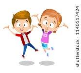 vector happy boy and girl jump... | Shutterstock .eps vector #1140517424