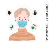 boy wearing breath mask for... | Shutterstock .eps vector #1140518864