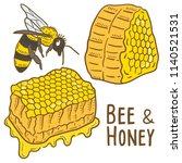 hand drawn illustration of bee... | Shutterstock .eps vector #1140521531