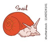 hand drawn illustration of snail | Shutterstock .eps vector #1140524141