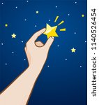 picking up a star. | Shutterstock .eps vector #1140526454
