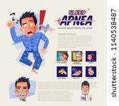 sleep apnea infographic and how ... | Shutterstock .eps vector #1140538487
