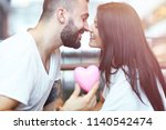 romantic couple dating in cafe... | Shutterstock . vector #1140542474