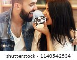 romantic couple dating in cafe...   Shutterstock . vector #1140542534
