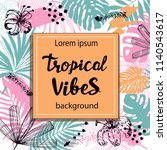template card with tropical...   Shutterstock .eps vector #1140543617