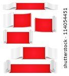 set of red paper banners ... | Shutterstock .eps vector #114054451