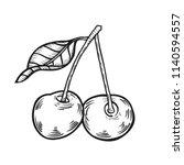 cherry fruit. vector plant... | Shutterstock .eps vector #1140594557