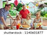 colorful portrait of happy big... | Shutterstock . vector #1140601877