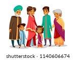 cartoon indian family... | Shutterstock . vector #1140606674