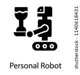 cartoon robot serving a drink...   Shutterstock .eps vector #1140618431