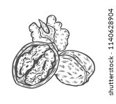 walnuts set. ink sketch of nuts.... | Shutterstock .eps vector #1140628904