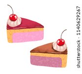 cakes slices cake with cherry... | Shutterstock . vector #1140629267