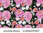 seamless pattern with  flowers... | Shutterstock .eps vector #1140635987